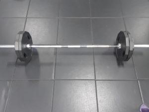 Black and white photo including a barbell with 225 lbs of weight setting on the floor.