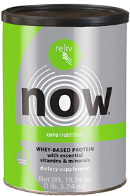 A gray and green cylinder can of Reliv Now Whey protein.